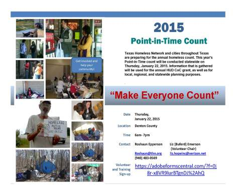 Point-In-Time Count Survey Volunteer Sign-up